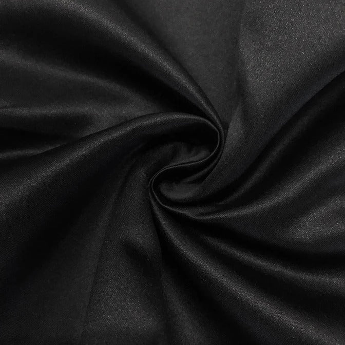 "BLACK - Matte Satin Fabric 100% Polyester By The Yard  60"" Wide - IceFabrics"