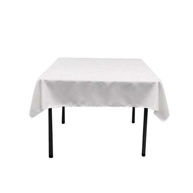 White - Washable Polyester 60 x 60 Inch Square Tablecloth - IceFabrics