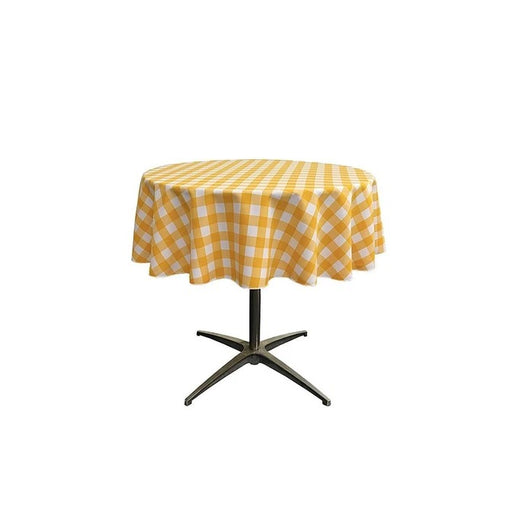 yellow/White - Poly Checkered Round Tablecloth, 51-Inch, Decoration, Parties' Decor, Home Decor, Birthday Party's Table Clothes - IceFabrics