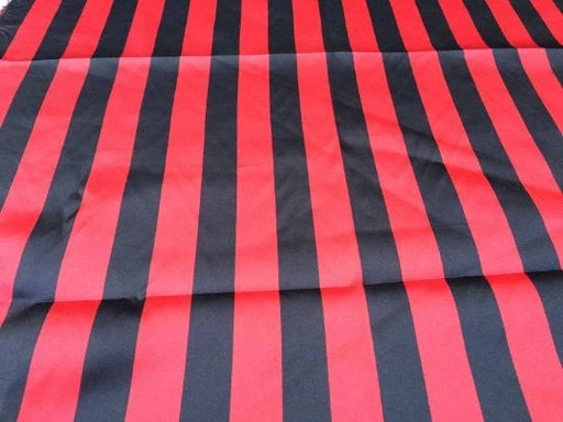 "Red/black - Stripe Bridal Satin Fabric 60"" Wide Made in USA - IceFabrics"