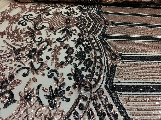 Black&Gold - Elegant NEW Casino Design//Fabric Embroidery Sequins 4 Way Stretch Nude Mesh Spandex//Stretchy Spandex Sequins Fabric By Yard - IceFabrics