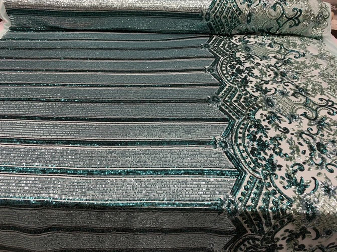 Mint - Elegant NEW Casino Design//Fabric Embroidery Sequins 4 Way Stretch Nude Mesh Spandex//Stretchy Spandex Sequins Fabric By Yard - IceFabrics
