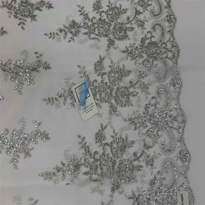 Metallic Silver - Embroidered Bridal Fabric Mesh Lace Floral Flowers Fabric Sold by the Yard - IceFabrics