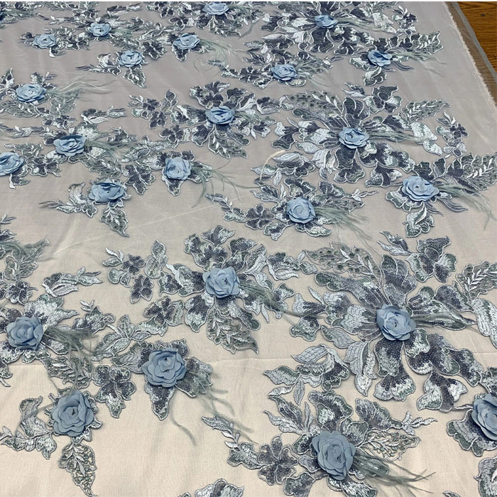 Light Blue - Burgundy - 3D Luxury Feather Design Floral Mesh Lace With Sequins Embroidery By The Yard - ICE FABRICS