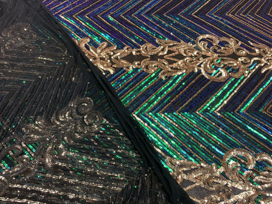 Iridescent Green Gold On Black Mesh - Nadia 4 Way Stretch Sequins Spandex Embroider Fabric - IceFabrics