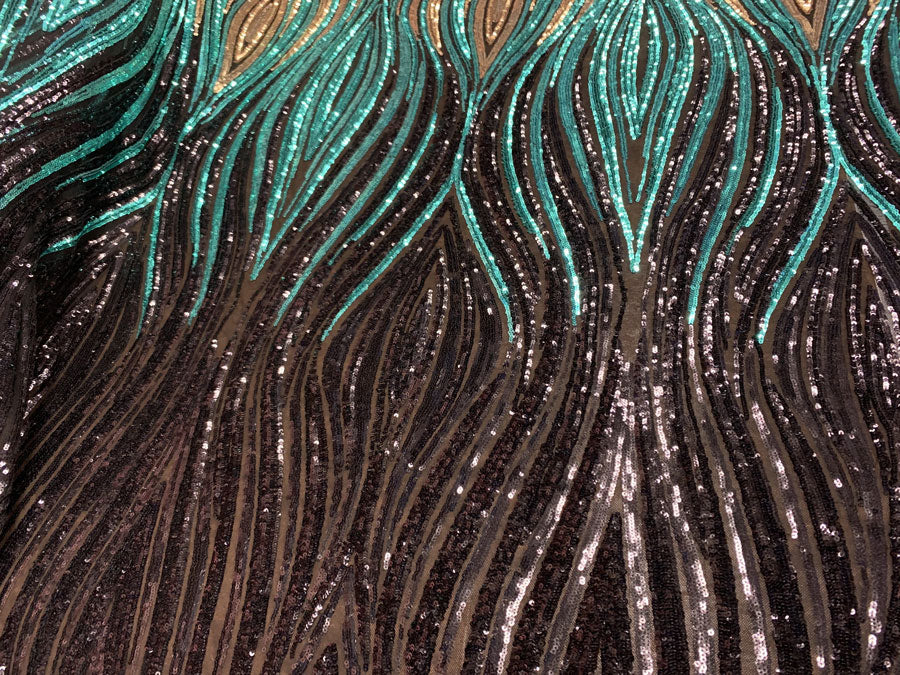 Black Gold Green On Black Mesh - New Wavy Geometric Prom 4 Way Stretch Sequins Fabric by the Yard - IceFabrics