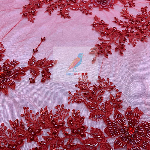 Red - Floral Embroidered Bridal Beaded Mesh Lace Fabric For Prom Dress - IceFabrics