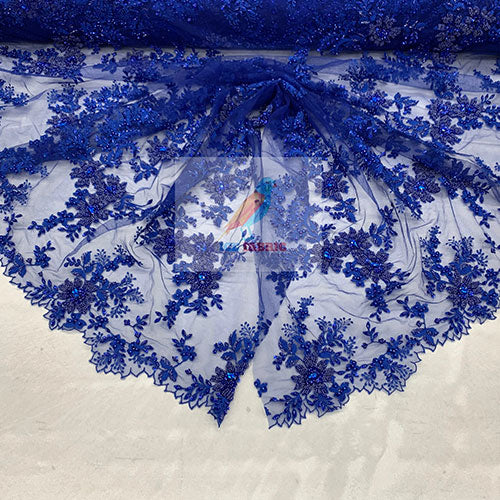 Royal Blue - Floral Embroidered Bridal Beaded Mesh Lace Fabric For Prom Dress - IceFabrics