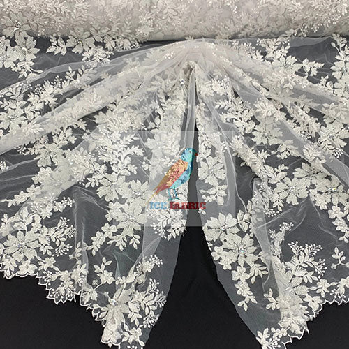 White - Floral Embroidered Bridal Beaded Mesh Lace Fabric For Prom Dress - IceFabrics