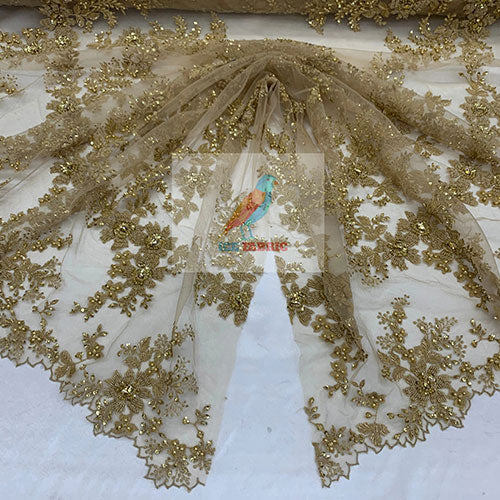 Gold - Floral Embroidered Bridal Beaded Mesh Lace Fabric For Prom Dress - IceFabrics