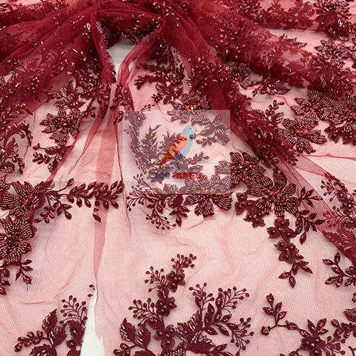 Burgundy - Floral Embroidered Bridal Beaded Mesh Lace Fabric For Prom Dress - IceFabrics