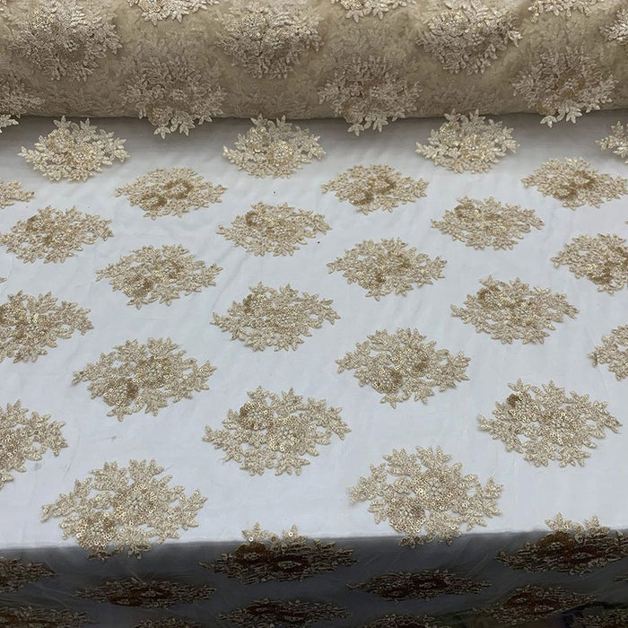 Champagne - Embroidered Corded Metallic Flowers On Mesh Lace Fabric With Sequins - IceFabrics