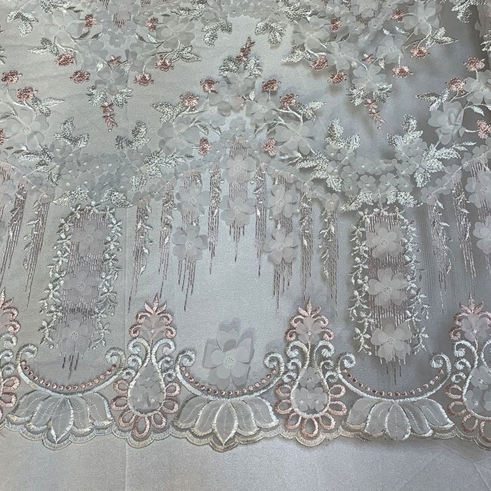 Pink/White - French Lace 3D Flowers/Floral Design/ Embroidered Mesh Lace Fabric By The Yard  For Tablecloths, Wedding Prom Dress,Night Gowns - IceFabrics