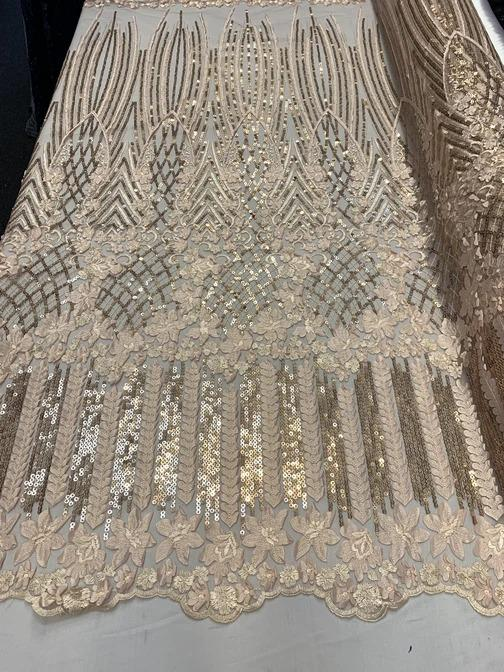 Peach - Corded 3D Flowers/Floral Mesh Lace Sequins Fabric By The Yard For Gowns, Skirts, Prom Dresses - ICE FABRICS