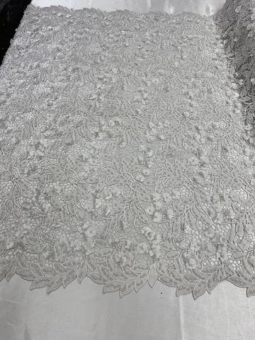 White - Double 3D Flowers Beaded Lace By The Yard/Embroider Heavy Beaded Guipur Lace Fabric// Floral Flower Bridal Lace/Wedding Lace/Gowns - IceFabrics