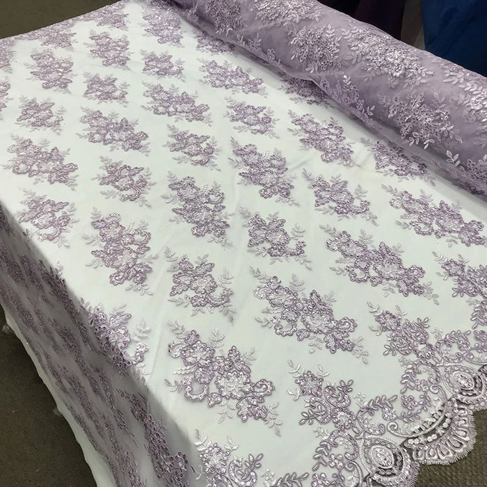 Lavender - Modern flower design embroider on mesh with sequins and metallic cord-prom-nightgown-decorations-sold by the yard prom wedding decor - IceFabrics