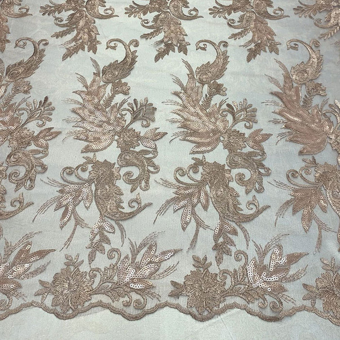 Peach/Champagne - FAST SHIPPING/ Mesh Lace Fabric Sold By The Yard Floral/Flowers Sequins Stretch Embroidered Handmade Lace/Tablecloths/ Dress For Decorations, Skirts, Runners, Tablecloths - IceFabrics