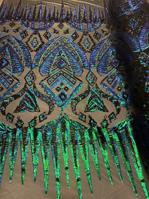 Green Mesh - African Fashion Design//Iridescent  Spandex Sequins Geometric 4 Way Stretch Mesh Lace Sequins Fabric By The Yard//Stretch Sequins - IceFabrics