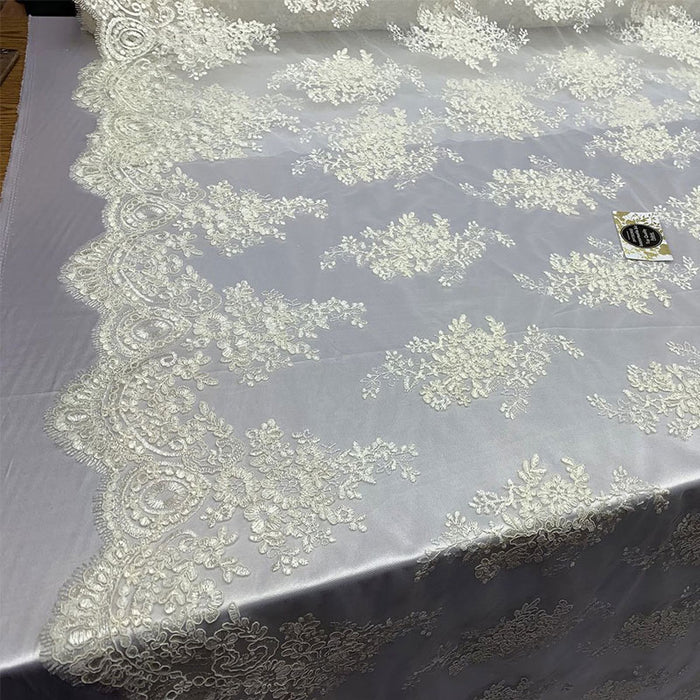 Ivory - French Design Floral Mesh Lace Embroidery Fabric - IceFabrics