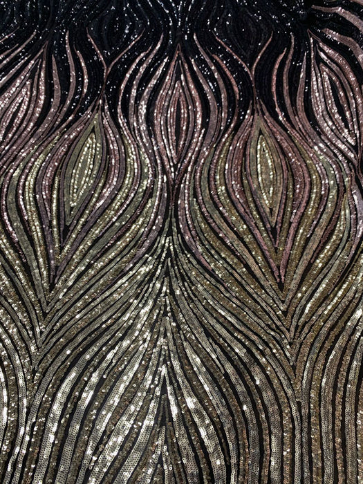 Gold Dusty Rose Black On Black Mesh - New Wavy Geometric Prom 4 Way Stretch Sequins Fabric by the Yard - IceFabrics
