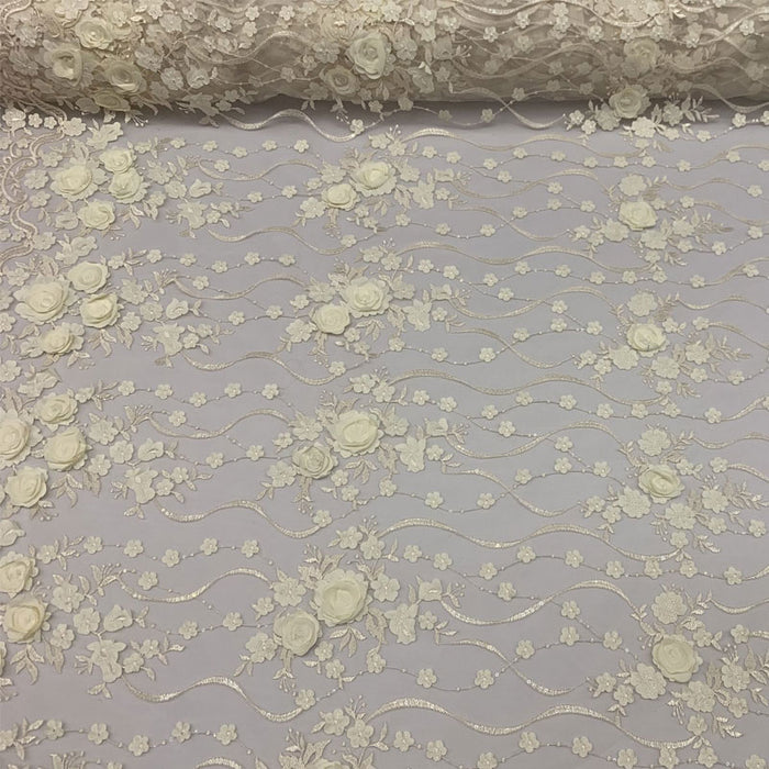 Ivory - Luxury Design Embroidered Fashion Modern 3D Flowers Handmade Mesh Lace Fabric By The Yard - ICE FABRICS