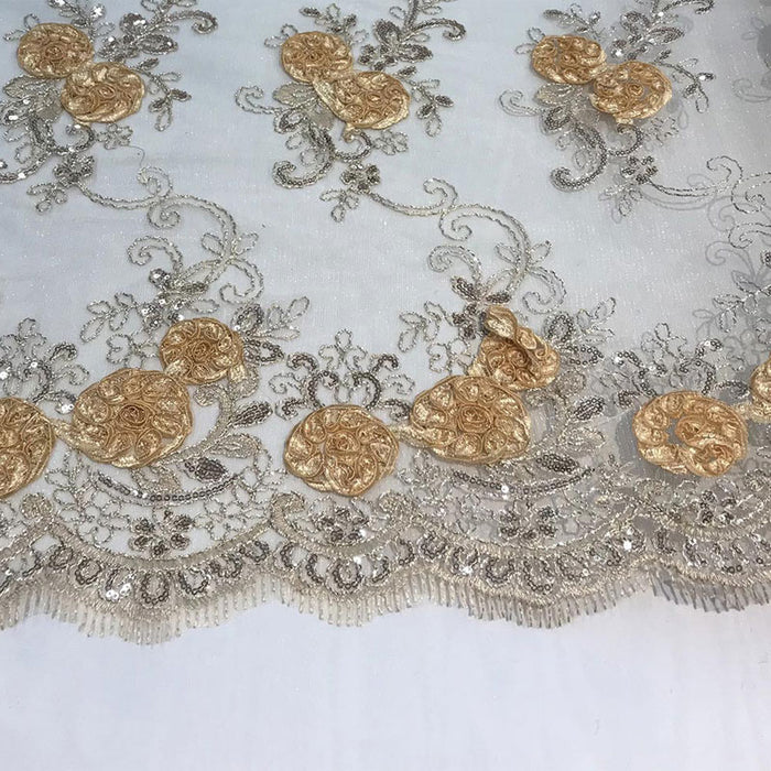 Champagne - Embroidered Mesh Lace Flower Design With Sequins Fabric - IceFabrics