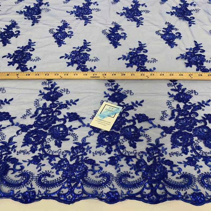 Royal Blue - Embroidered Bridal Fabric Mesh Lace Floral Flowers Fabric Sold by the Yard - IceFabrics