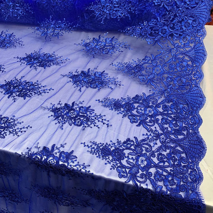 Royal Blue - Hand Made Mesh Lace Embroidery Fabric By The Yard (Dusty Rose, Pink) Flowers/Floral Lace Soft Mesh For Tablecloths,Runners,Skirts,Costumes - IceFabrics