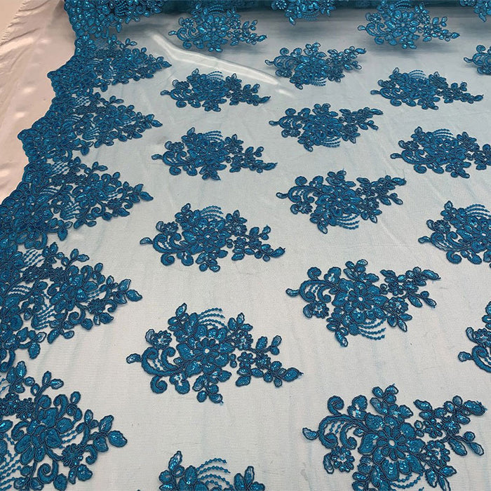 Turquoise - Embroidered Mesh lace Floral Design Fabric With Sequins By The Yard - IceFabrics