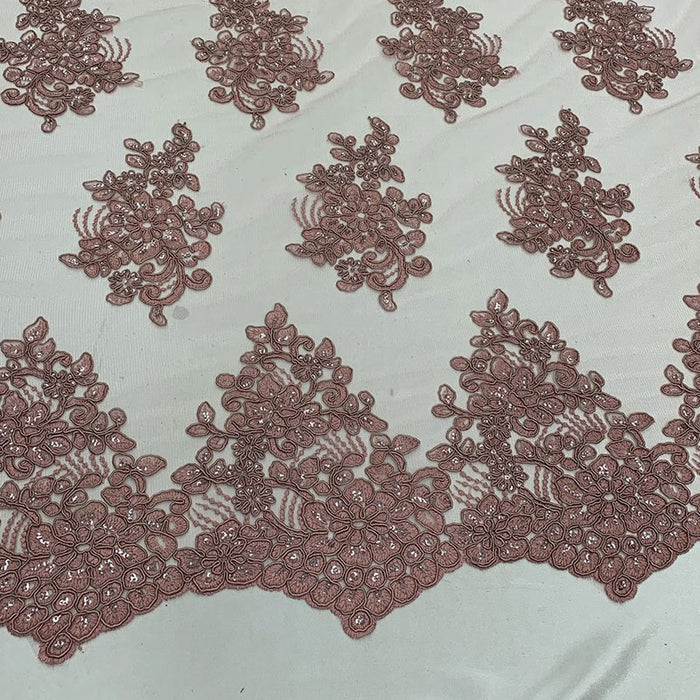 Peach - Embroidered Mesh lace Floral Design Fabric With Sequins By The Yard - IceFabrics