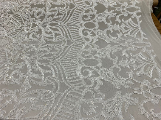 White - London Design 4 WAY Stretch Sequins Fabric Spandex - IceFabrics