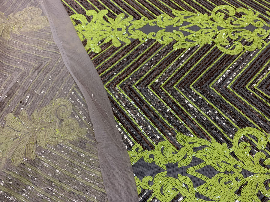 Neon Yellow Gold ON Nude Mesh - Nadia 4 Way Stretch Sequins Spandex Embroider Fabric - IceFabrics