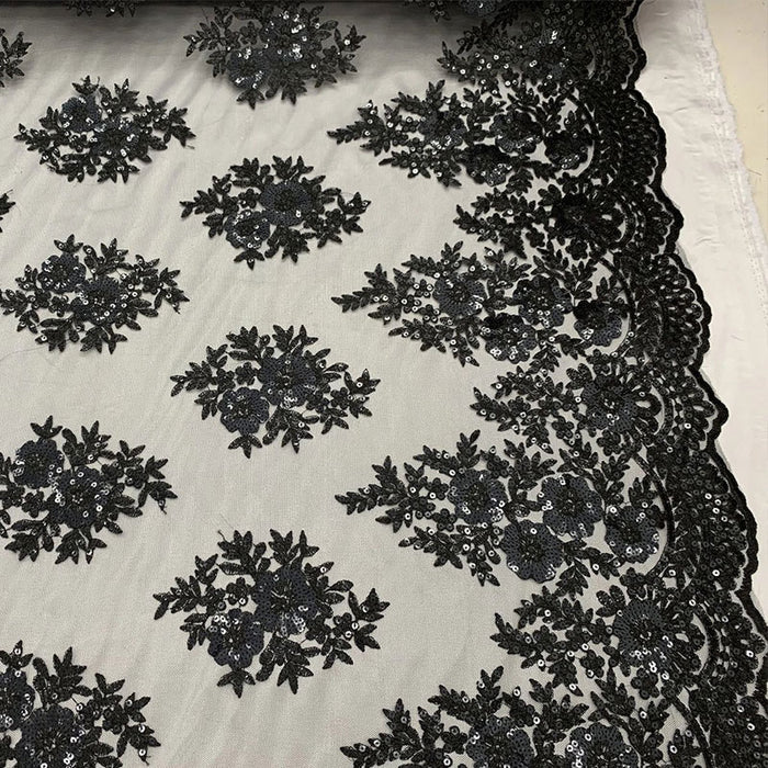 Black - Embroidered Corded Metallic Flowers On Mesh Lace Fabric With Sequins - IceFabrics