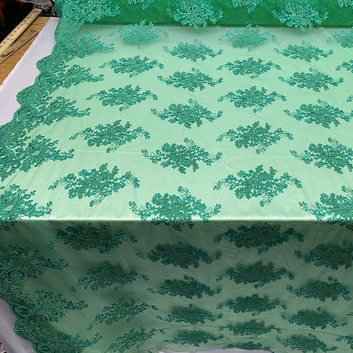 Green - French Design Floral Mesh Lace Embroidery Fabric - IceFabrics