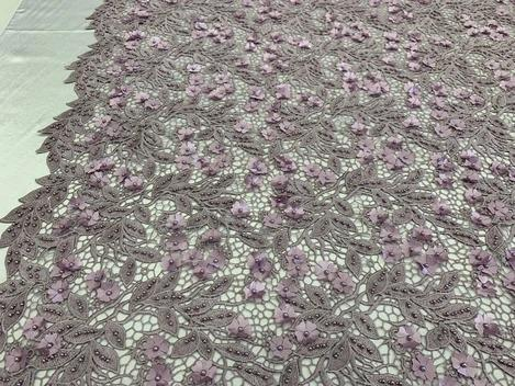 Lavender - Double 3D Flowers Beaded Lace By The Yard/Embroider Heavy Beaded Guipur Lace Fabric// Floral Flower Bridal Lace/Wedding Lace/Gowns - IceFabrics