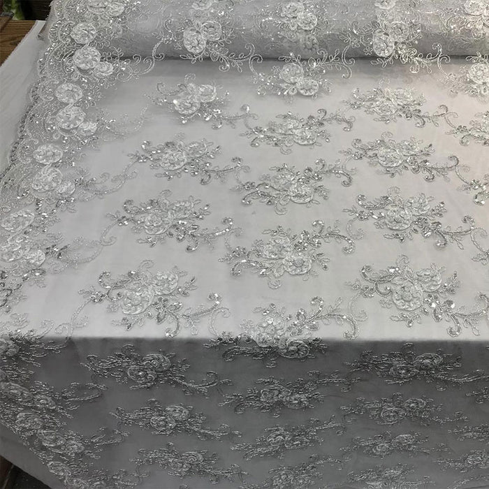 White - Embroidered Mesh Lace Flower Design With Sequins Fabric - IceFabrics