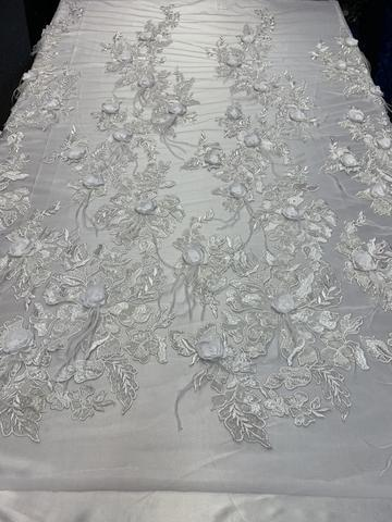 White - Burgundy - 3D Luxury Feather Design Floral Mesh Lace With Sequins Embroidery By The Yard - ICE FABRICS