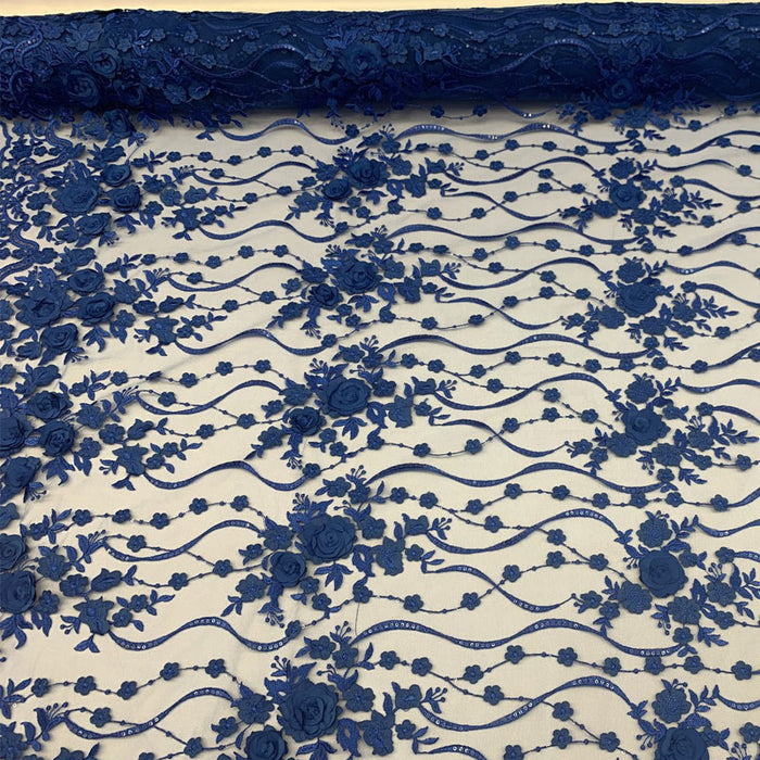 Royal Blue - Luxury Design Embroidered Fashion Modern 3D Flowers Handmade Mesh Lace Fabric By The Yard - ICE FABRICS