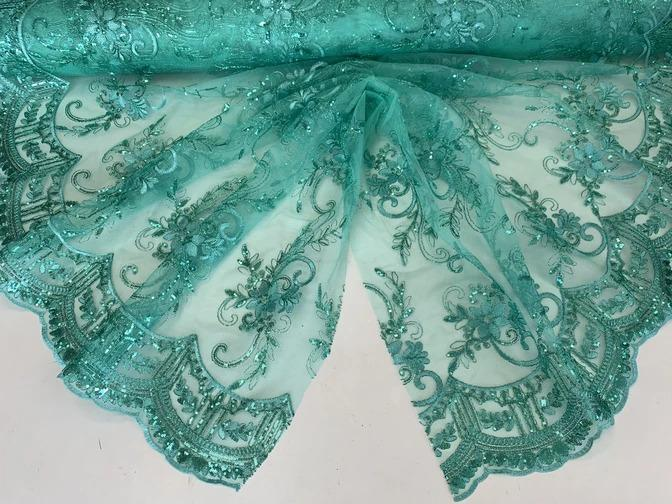Mint - Metallic Flowers Sequins On A Mesh Lace Fabric// Lace By The Yard//Floral Embroider Lace Tablecloths,Costumes,Decorations,Runners - ICEFABRICS