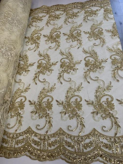Gold - Metallic Flowers Sequins On A Mesh Lace Fabric// Lace By The Yard//Floral Embroider Lace Tablecloths,Costumes,Decorations,Runners - ICEFABRICS