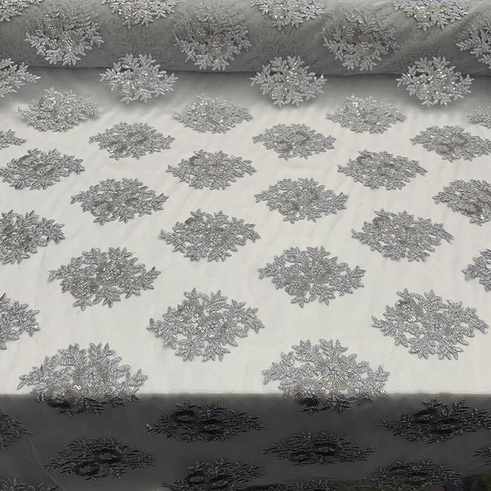 Gray - Embroidered Corded Metallic Flowers On Mesh Lace Fabric With Sequins - IceFabrics