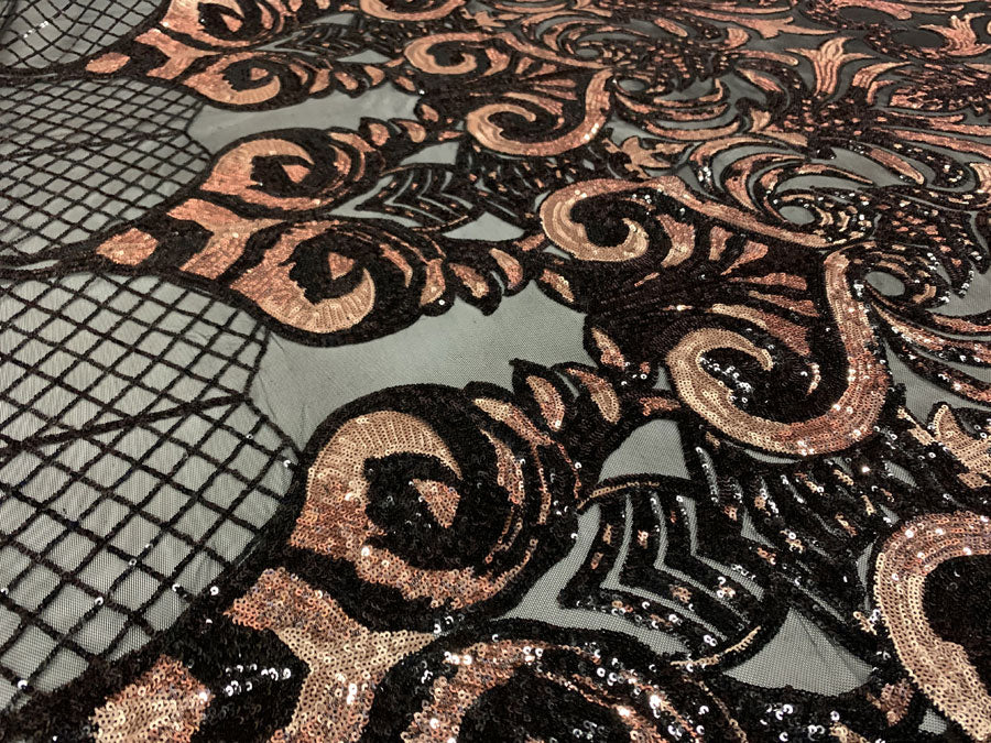 Rose Gold Iridescent On Black Mesh - Geometric Design 4 Way Stretch Spandex Sequins Mesh Lace Fabric - IceFabrics