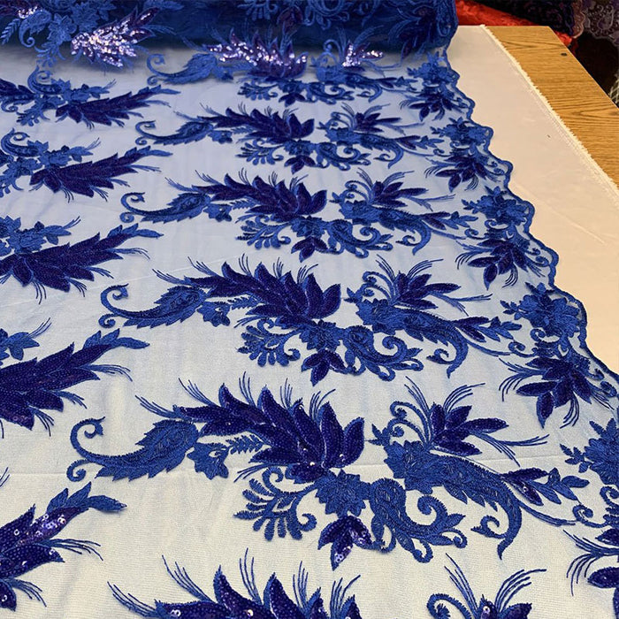 Royal Blue - FAST SHIPPING/ Mesh Lace Fabric Sold By The Yard Floral/Flowers Sequins Stretch Embroidered Handmade Lace/Tablecloths/ Dress For Decorations, Skirts, Runners, Tablecloths - IceFabrics