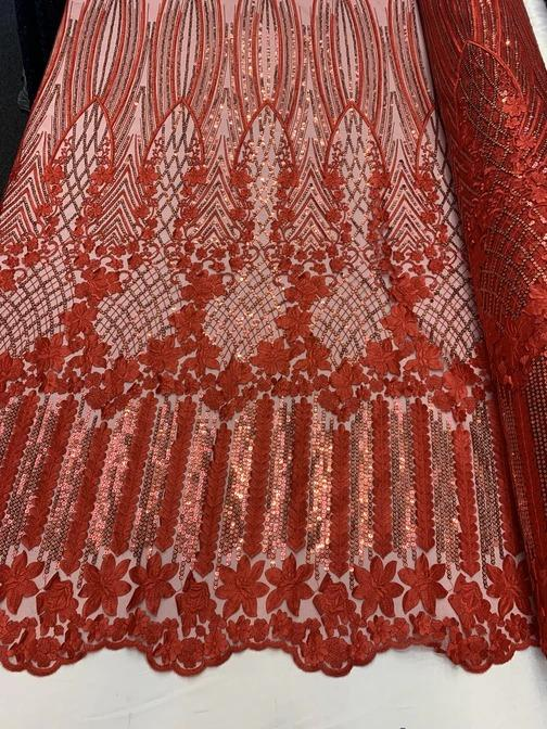 Red - Corded 3D Flowers/Floral Mesh Lace Sequins Fabric By The Yard For Gowns, Skirts, Prom Dresses - ICE FABRICS