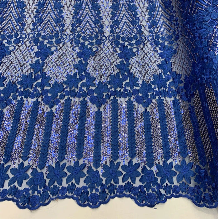 Royal Blue - Corded 3D Flowers/Floral Mesh Lace Sequins Fabric By The Yard For Gowns, Skirts, Prom Dresses - ICE FABRICS