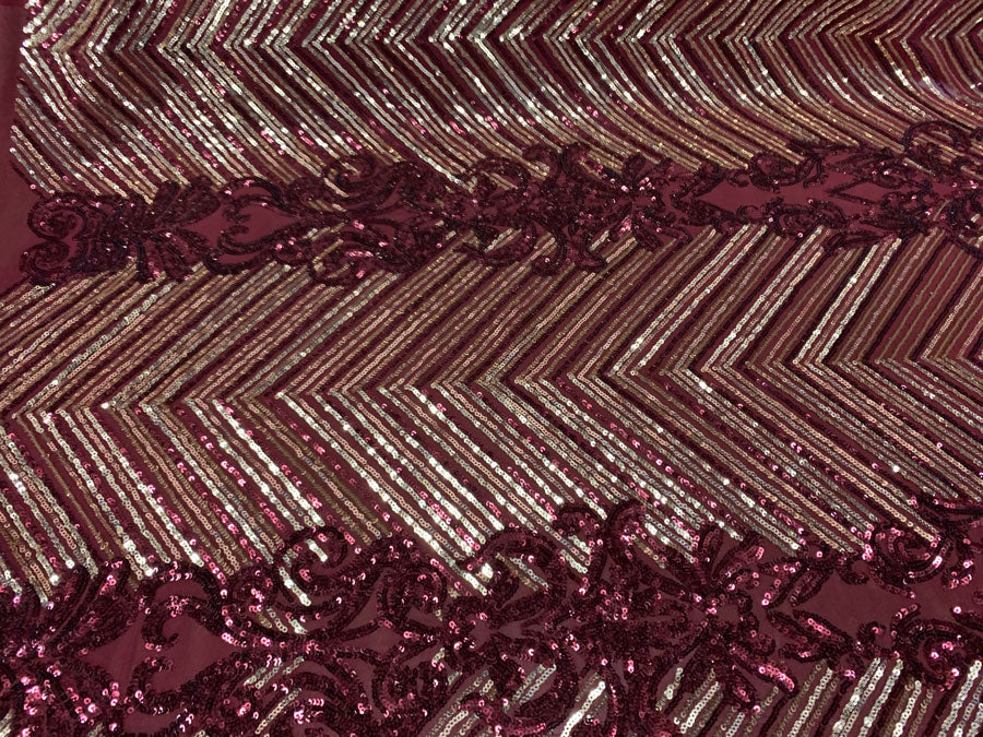 Burgundy Gold On Burgundy Mesh - Nadia 4 Way Stretch Sequins Spandex Embroider Fabric - IceFabrics