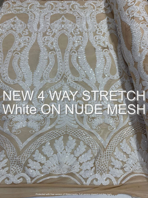 White On Nude Mesh - Geometric Sequins Spandex 4 Way Stretch Fabric - IceFabrics