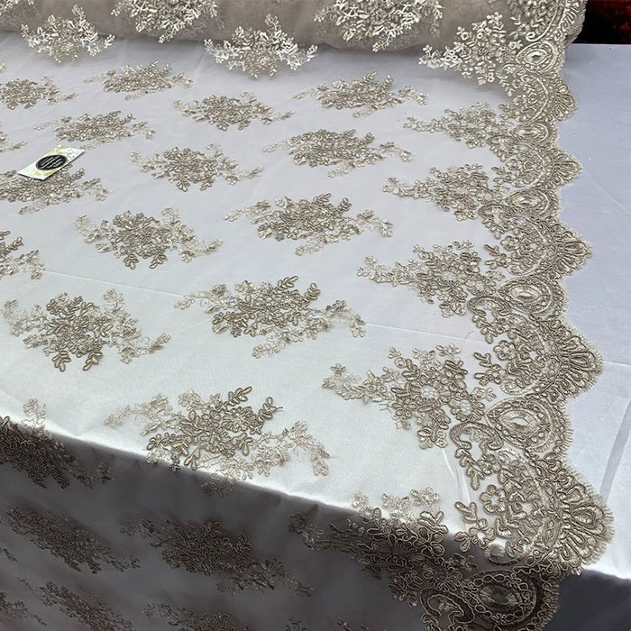 Light Brown - French Design Floral Mesh Lace Embroidery Fabric - IceFabrics