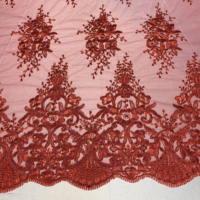 Red - Hand Made Mesh Lace Embroidery Fabric By The Yard (Dusty Rose, Pink) Flowers/Floral Lace Soft Mesh For Tablecloths,Runners,Skirts,Costumes - IceFabrics