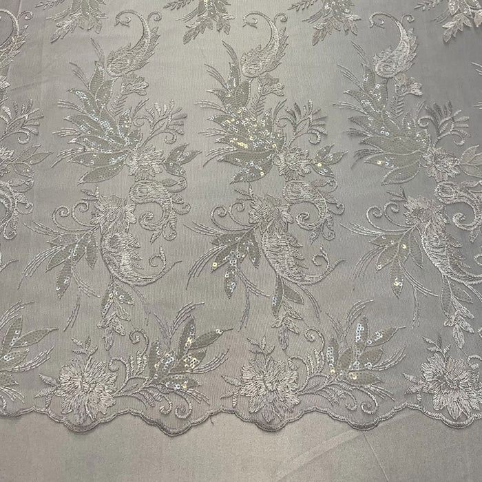 White - FAST SHIPPING/ Mesh Lace Fabric Sold By The Yard Floral/Flowers Sequins Stretch Embroidered Handmade Lace/Tablecloths/ Dress For Decorations, Skirts, Runners, Tablecloths - IceFabrics